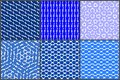 Blueish pattern set Royalty Free Stock Photo