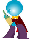 Blueman waiter present wine isolated Royalty Free Stock Photos