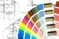 Blueprint with color samles samples architectural drawing of house plan Stock Image