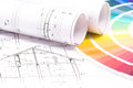 Blueprint and color samples architect s designer s work space during work with technical drawing Royalty Free Stock Photos