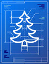 Blueprint drawing of christmas tree Stock Photos