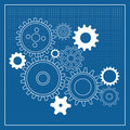 Blueprint gear wheels Royalty Free Stock Photo