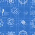 Blueprint gears seamless vector illustration of pattern Stock Photo
