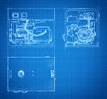 Blueprint of generator drawings and sketches gasoline set engineering Stock Image