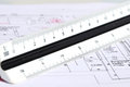 Blueprint house ruler Royalty Free Stock Image
