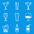 Blueprint icon set. Drink. Cocktail Royalty Free Stock Photo