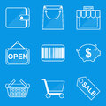 Blueprint icon set. Shop Royalty Free Stock Photo