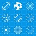 Blueprint icon set. Sport ball Royalty Free Stock Photo