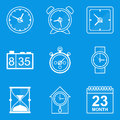 Blueprint icon set. Time. Clock Royalty Free Stock Photo