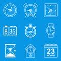 Blueprint icon set. Time. Clock Royalty Free Stock Photo