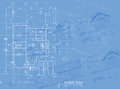 Blueprint overlay of house floor plan elevations and washroom detail Royalty Free Stock Photos