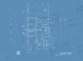 Blueprint overlay of house floor plan elevations and washroom detail Stock Image