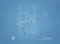 Blueprint overlay of house floor plan elevations and washroom detail Royalty Free Stock Image