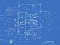Blueprint overlay of house floor plan elevations and washroom detail Stock Photography