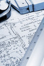 Blueprint with Ruler and Tools Royalty Free Stock Photography