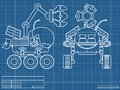 Blueprint scheme planet rover Stock Photo