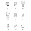 Blueprint technical draw of different bulb socket on white background Stock Photo