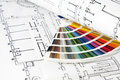 Blueprints and color card architectural projects guide Stock Photography