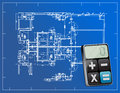 Blueprints and modern calculator illustration design over white Royalty Free Stock Images