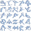 Bluish sports icon set Royalty Free Stock Images