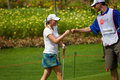 Blumenherst celebrates with caddy at LPGA Malaysia Stock Image