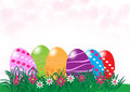 Vector Easter eggs in Fresh Green Grass with copy space