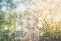 Blur background of Asian child playing with water hose Royalty Free Stock Photo