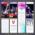 Blur banners night city vector template design Royalty Free Stock Photo