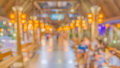 Blur image of shopping street at night with bokeh Stock Photography