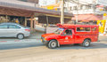Blur image of unidentified driver and tourists in red car vehicl chiang mai thailand february motion ofunidentified vehicle on the Royalty Free Stock Photo