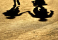 Blur-Shadows of couple in love on a walk. Royalty Free Stock Photo