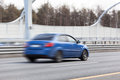 Blured car riding on road speed way Stock Photo