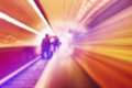 Blurred abstract background of people on oving escalators Royalty Free Stock Photo