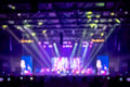 Blurred background : Bokeh lighting in concert with audience ,Music showbiz concept Royalty Free Stock Photo