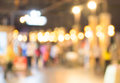 Blurred background street decorated with festive lights Stock Images