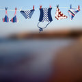 Blurred beach and swimwear background for text with Stock Image