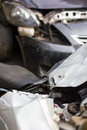 Blurred car crashed motorcycle top view of a accident which was hard hit by the which park is Royalty Free Stock Photos