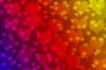Blurred colorful heart bokeh wallpaper and background Royalty Free Stock Photo