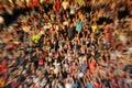 Blurred, defocused crowd of spectators on a stadium tribune Royalty Free Stock Photo