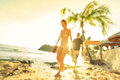 Blurred defocused silhouette of travelers people before sunset Royalty Free Stock Photo