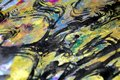 Blurred golden hypnotic splashes, colorful vivid waxy colors, contrasts creative background