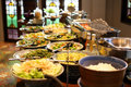 Blurred image breakfast buffet table at hotel restaurant Royalty Free Stock Photo