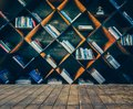 Blurred Image many old books on bookshelf in library Royalty Free Stock Photo