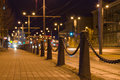 Blurred image of tram line by night Royalty Free Stock Photo