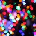 Blurred lights of christmas tree abstract bokeh background Stock Photos