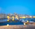 Blurred malta background with evening lights text space of over senglea peninsula in grand valetta bay ackground for your related Royalty Free Stock Photo