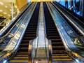 Blurred motion shot of empty escalators at Suntec City Convention and Exhibition Centre in downtown Singapore Royalty Free Stock Photo