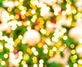 Blurred red, green, and gold bokeh background of Christmas tree. Xmas background. Christmas and Happy New Year holiday background Royalty Free Stock Photo