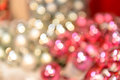 Blurred shiny silver and pink christmas background balls Stock Images