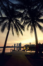 Blurred silhouette image at the lakeside during sunrise. coconut tree, building and the reflection on the lake. Royalty Free Stock Photo